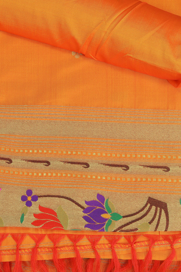 SIGNORAA ORANGE PAITHANI SEMI SILK SAREE-PTN00126 - PRODUCT VIEW