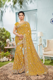 SIGNORAA MUSTARD GEORGETTE SILK SAREE-EMB00561 - VIEW 1