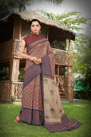 SIGNORAA RUST PRINTED TUSSAR SILK SAREE-PTS04376 B - VIEW 1
