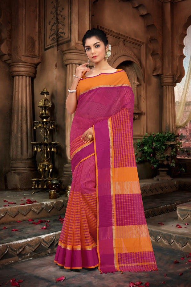 SIGNORAA RANI PINK CHANDERI COTTON SAREE-CCC01461 - VIEW 1