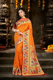 SIGNORAA ORANGE PAITHANI SEMI SILK SAREE-PTN00126 - VIEW 1
