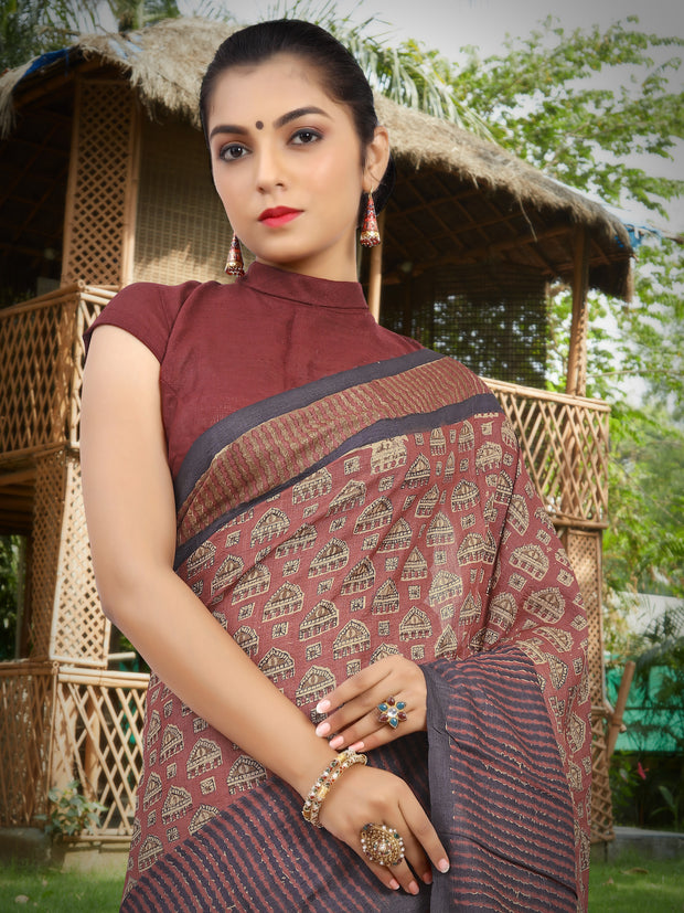 SIGNORAA RUST PRINTED TUSSAR SILK SAREE-PTS04376 B - VIEW 2
