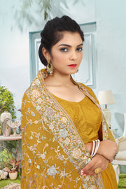 SIGNORAA MUSTARD GEORGETTE SILK SAREE-EMB00561 - VIEW 2