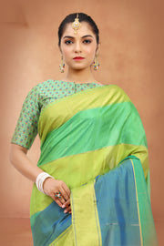 SIGNORAA SHOT GREEN KANCHIPURAM SOFT SILK SAREE-KSL02506-View 2