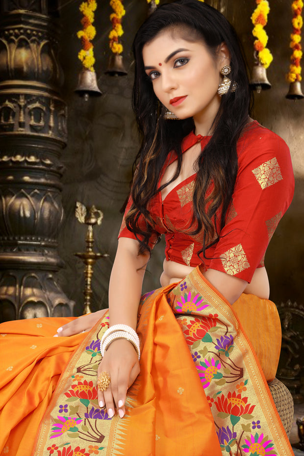 SIGNORAA ORANGE PAITHANI SEMI SILK SAREE-PTN00126 -VIEW 2