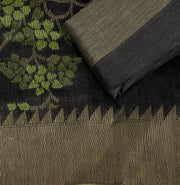 SIGNORAA BLACK BANARASI TUSSAR SILK SAREE-BSK07665- Product View