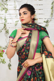 SIGNORAA BLACK FANCY BANARAS COTTON SAREE-FCT08670 - View 2