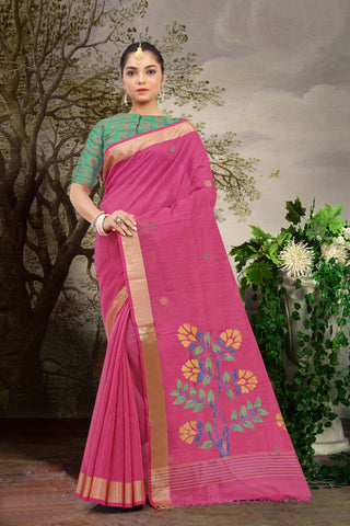 SIGNORAA RANI PINK FANCY JUTE COTTON SAREE-FCT08623 - View 1
