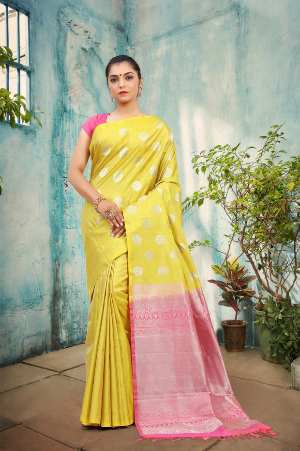 SIGNORAA LEMON YELLOW KANCHIPURAM SOFT SILK SAREE-KSL02477  View 1