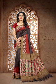 SIGNORAA BROWN TUSSAR SILK SAREE EMB02931 - VIEW 1