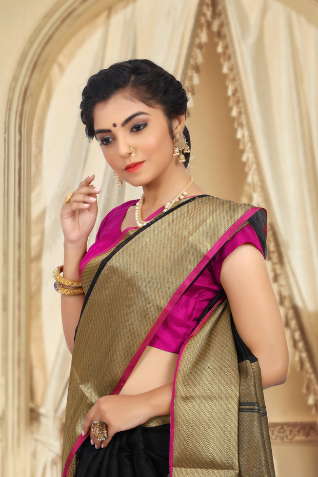 SIGNORAA BLACK BANARASI SILK COTTON SAREE-BSK07753 - View 2