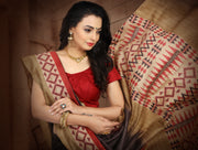 SIGNORAA BROWN TUSSAR SILK SAREE EMB02931 - VIEW 2