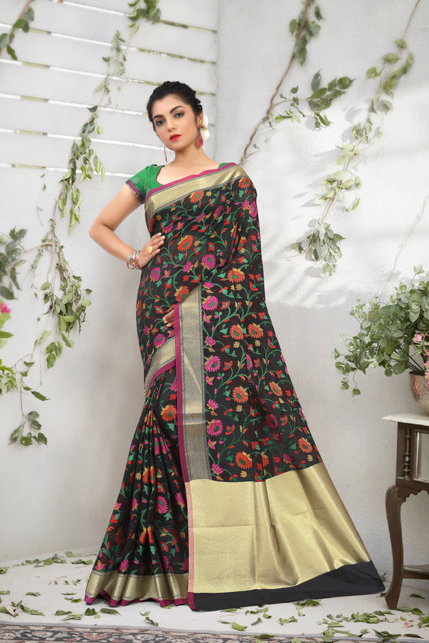 SIGNORAA BLACK FANCY BANARAS COTTON SAREE-FCT08670 - View 1
