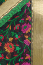 SIGNORAA BLACK FANCY BANARAS COTTON SAREE-FCT08670 - Product View