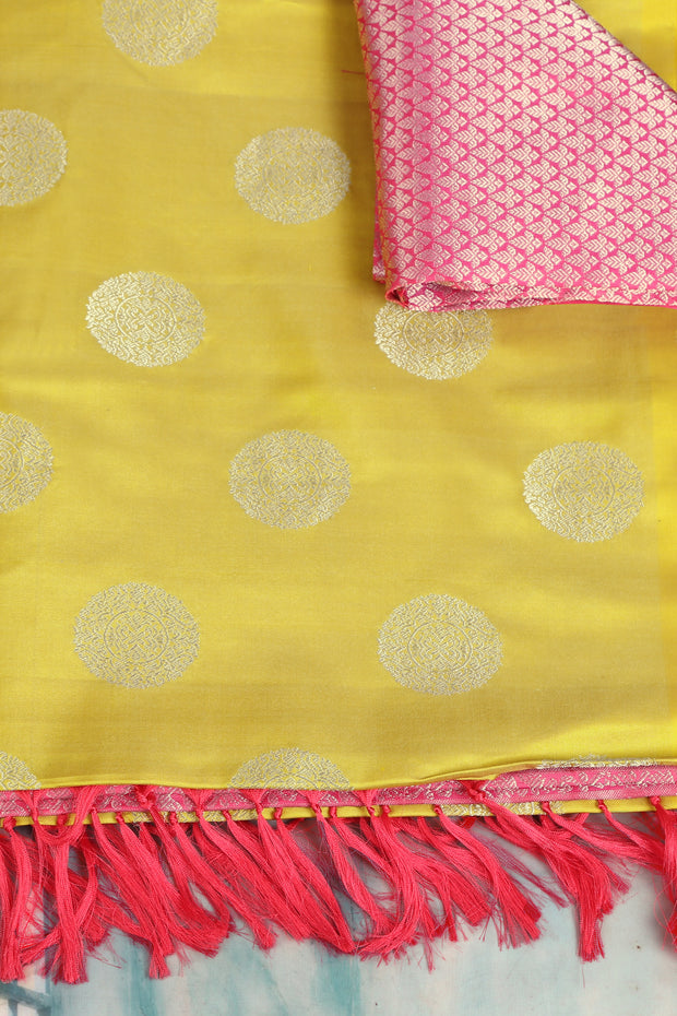 SIGNORAA LEMON YELLOW KANCHIPURAM SOFT SILK SAREE-KSL02477- Product View