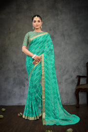 SIGNORAA TURQUOISE BLUE GEORGETTE SILK SAREE-CHG03464-VIEW1