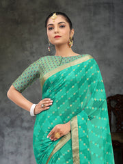 SIGNORAA TURQUOISE BLUE GEORGETTE SILK SAREE-CHG03464 - VIEW 2