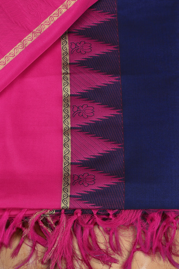 SIGNORAA ROYAL BLUE SILK COTTON SAREE-CCC01442 - PRODUCT VIEW