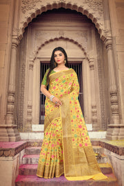 SIGNORAA YELLOW FANCY KOTA COTTON SAREE-FCT08828 - View 1