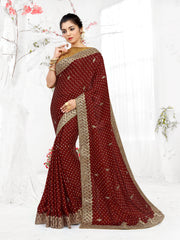 SIGNORAA MAROON SATIN SILK SAREE-EMB02645A -VIEW 1