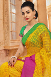 SIGNORAA YELLOW BANARASI JUTE NET SAREE-BSK04811 - View 2
