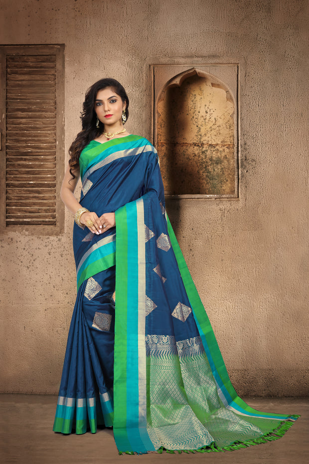 SIGNORAA NAVY BLUE KANCHIPURAM SOFT SILK SAREE-KSL02475 B - View 1