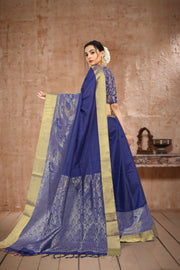 SIGNORAA ROYAL BLUE KANCHIPURAM SOFT SILK SAREE-KSL02483 - View 1