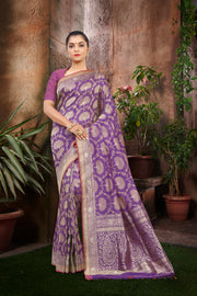 SIGNORAA PURPLE BANARASI SILK SAREE-BSK06838 - View 1