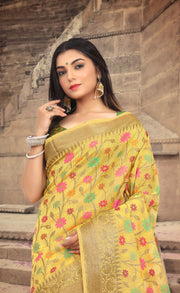 SIGNORAA YELLOW FANCY KOTA COTTON SAREE-FCT08828 - View 2