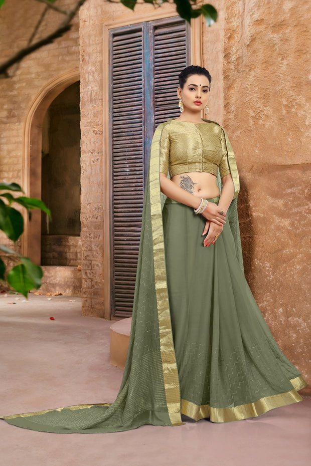 SIGNORAA MILITARY GREEN CHIFFON SAREE-CHG03457 - VIEW 1