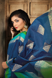 SIGNORAA NAVY BLUE KANCHIPURAM SOFT SILK SAREE-KSL02475 B - View 2
