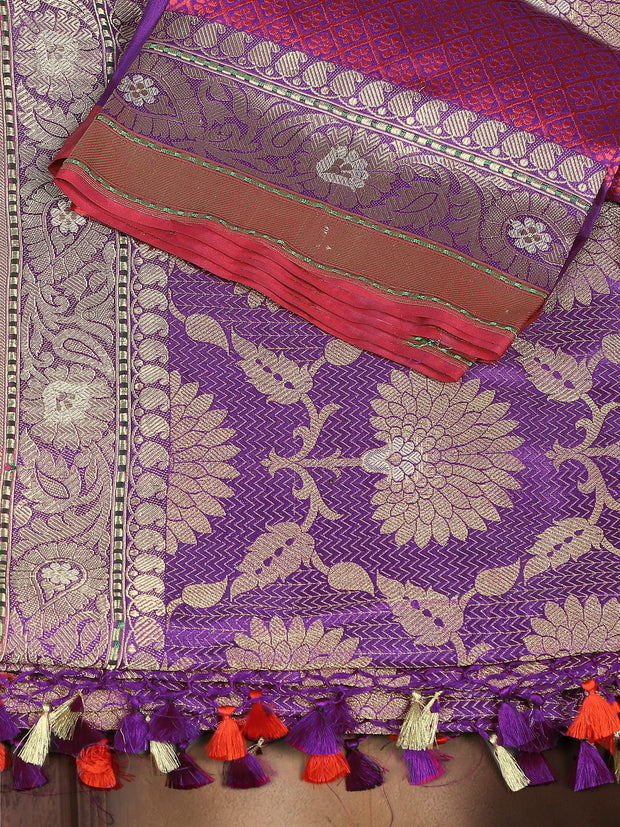SIGNORAA PURPLE BANARASI SILK SAREE-BSK06838 - Product View
