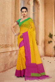 SIGNORAA YELLOW BANARASI JUTE NET SAREE-BSK04811 - View 1