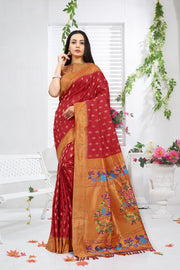 SIGNORAA RED PAITHANI SILK SAREE-PTN00117 - VIEW 1