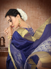 SIGNORAA ROYAL BLUE KANCHIPURAM SOFT SILK SAREE-KSL02483- View 2