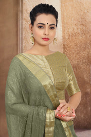 SIGNORAA MILITARY GREEN CHIFFON SAREE-CHG03457 - VIEW 2
