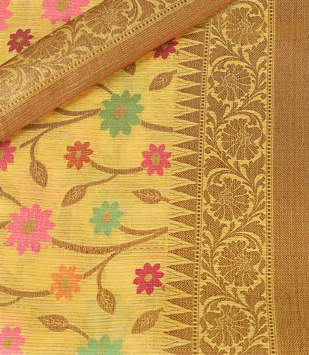 SIGNORAA YELLOW FANCY KOTA COTTON SAREE-FCT08828 - Product View