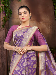 SIGNORAA PURPLE BANARASI SILK SAREE-BSK06838 - View 2