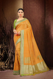 SIGNORAA ORANGE BANARASI TUSSAR SILK SAREE-BSK07074 - View 1