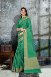 SIGNORAA GREEN BANARASI SILK COTTON SAREE-BSK07902 - View 1