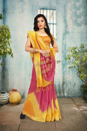 SIGNORAA MULTICOLOURED DAILY WEAR SEMI TUSSAR SAREE-SASYN05936 - View 1