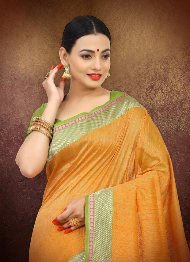 SIGNORAA ORANGE BANARASI TUSSAR SILK SAREE-BSK07074 - View 2