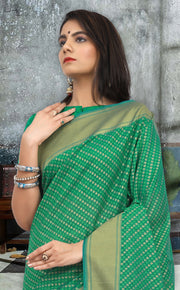 SIGNORAA GREEN BANARASI SILK COTTON SAREE-BSK07902 - View 2