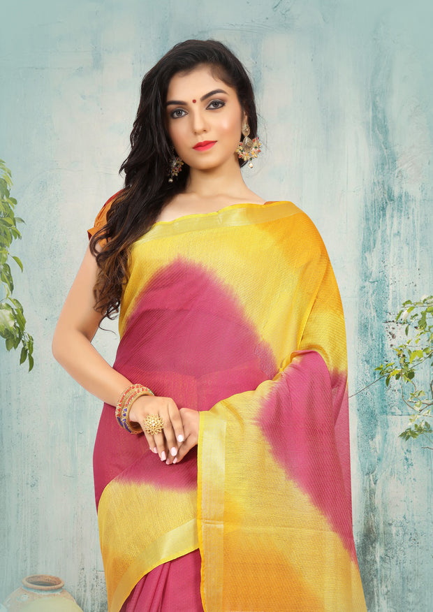 SIGNORAA MULTICOLOURED DAILY WEAR SEMI TUSSAR SAREE-SASYN05936 - View 2