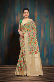 SIGNORAA CREAM FANCY KORA COTTON SAREE-FCT08669 - VIEW 1