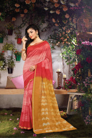 SIGNORAA RED FANCY CHANDERI COTTON SAREE-FCT08813 - VIEW 1