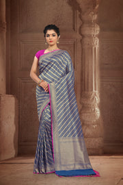 SIGNORAA NAVY BLUE BANARASI SILK SAREE-BSK07868 - View 1