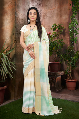 SIGNORAA MULTICOLOURED FANCY COTTON SAREE-FCT08607 - View 1