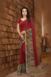 SIGNORAA MAROON GEORGETTE SILK SAREE-CHG03451-VIEW 1
