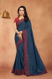SIGNORAA ROYAL BLUE TUSSAR SILK SAREE-EMB02918 - VIEW1